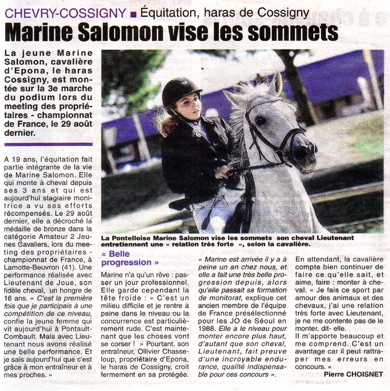 Article de presse marine salommon